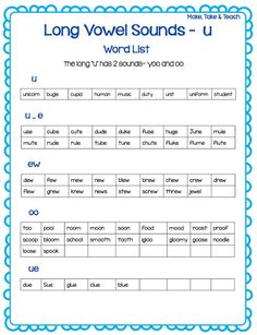 Long u word list