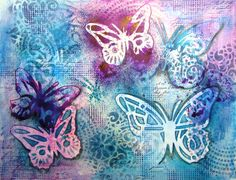 Mixed Media background with butterflies in my art journal. Created by #kittysart. Kittysartencrafts.blogspot.com