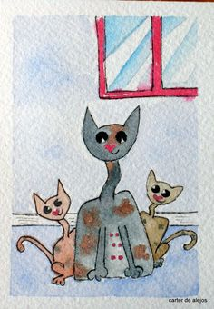 MRS. KOOL CAT WITH HER BABIES original ACEO watercolor FREE SHIPPING