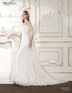 SAGA | Wedding Dress | 2015 Romantic Collection | by Sara Villaverde | Villais | Shown with Rebrode Lace Jacket (close up) (back)