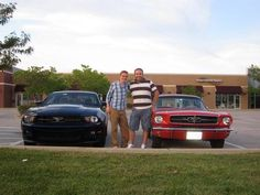 A good friend of mine, Jon Brownfield and I take a photo in front of our Mustangs. Mine is the right, 1965 Ford Mustang w/3 speed Hurst and a 289
