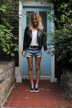 leather jacket, denim shorts, sneakers