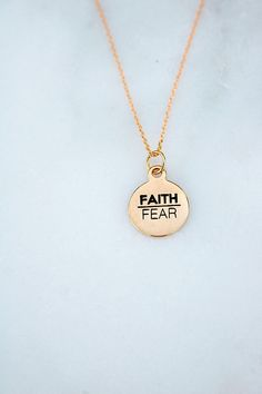 Faith Over Fear in Gold - Christian Jewelry - LDS - Faith - 18 inch Silver Pendant Necklace, Sterling Silver Jewelry, Antique Jewelry, Jade Jewelry, Jewelry Findings, Copper Jewelry, Silver Jewellery, Glass Jewelry, Diy Art