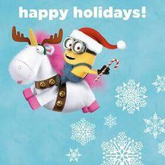 Happy Holidays, minion on a unicorn style.
