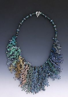 Necklace | Leah Henriquez Ready .  Coralling stitch using seed beads, pearls, shells, crystals.