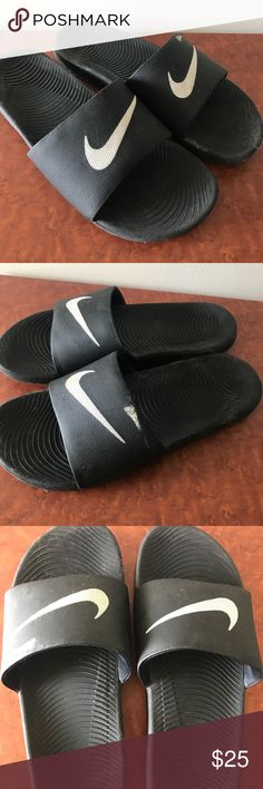 Men's Nike Slides Good condition! No signs of wear on these Nike slides! Just a small paint streak that is shown in the pictures! Size 11! Slightly dirty, I can clean them before they are purchased! Lots of life left in these Nike Shoes Sandals & Flip-Flops