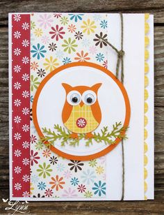 Stampin' Up Owl Punch Creative Crafts by Lynn Scrapbooking, Scrapbook Paper Crafts, Scrapbook Albums, Owl Punch Cards, Penny Black Cards, Owl Card, Owl Crafts, Paper Smooches, Bird Cards