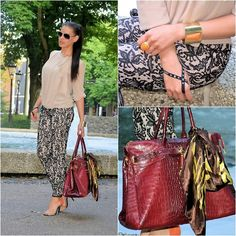 Lace pants and a Burgundy bag (by Tamara Chloe) http://lookbook.nu/look/4166392-Lace-pants-and-a-Burgundy-bag
