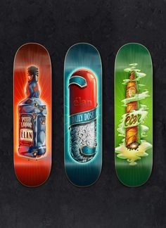 Elan Skateboards by Supervixen: Way to much detail. These boards would be insane to print and sell for why to high of a price for the average skater. Collection decks right here.