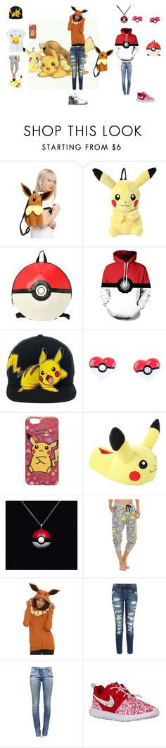 """Pokemon"" by failingsinger ❤ liked on Polyvore featuring Nintendo, NIKE, Current/Elliott and Balmain"