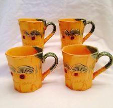 Island Coffee Mugs Set Of Four Cups Tiki Huts Bamboo Design Unique Korean