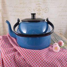 Blue jug for water, kettle,  jug, vintage retro, ceramics, cup ,brocante, container  , Vintage Kitchen Utensils, Vintage Milk Jugs,
