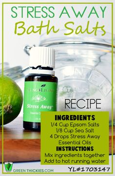 Stress Away Bath Salts Recipe  Lots of Love & Happy Oiling! https://www.youngliving.com/signup/?sponsorid=1496528&enrollerid=1496528
