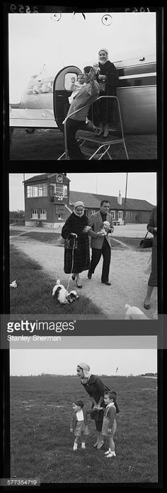 A contact strip depicting British-born American actress Elizabeth Taylor (1932 - 2011) at an airfield, (possibly Croydon Airport, London) with her third husband, American producer Mike Todd (1910 - 1958) and her sons, Michael Howard Wilding and Christopher Edward Wilding, 23rd April 1957.