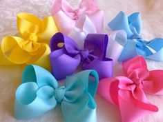 Items similar to My Big Hair Bow Set, Mix and match 7 hair bows Attached to barrettes, alligator clips or pony tail holders on Etsy Princess Hair Bows, Big Hair Bows, Princess Hairstyles, My Hair, Beautiful Things, Ribbon, Unique Jewelry, Handmade Gifts, Crafts