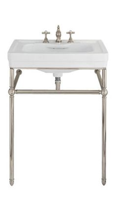 Lutezia 28 Inch Console... $649.95   Vintage Tub & Bath (similar can be purchased at outlet in ct). I like the retro look of this, plus the bars can be towel hangers. Wonder what this would look like with solid, block sink