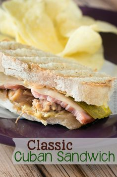 Classic cuban sandwich recipe perfect lunch or dinner with pulled pork, a thick slice of ham, and swiss cheese #amomstake