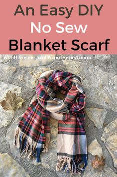 An Easy DIY We've got a quick tutorial and some tips on how to make your very own new sew fringed blanket scarf. This is a project that older kids can do and it's also an easy one to work on while you're binge watching your favorite show! Diy Blanket Scarf, Flannel Blanket, Diy Scarf, No Sew Scarf, Plaid Scarf, No Sew Blankets, Sewing Hacks, Sewing Tips, Sewing Tutorials