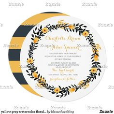 Shop yellow gray watercolor floral wedding invitations created by blessedwedding. Yellow Wedding Invitations, Brunch Invitations, Custom Invitations, Bridal Shower Invitations, Invites, Bridal Shower Luncheon, Flower Invitation, Watercolor Wedding Invitations, Floral Watercolor