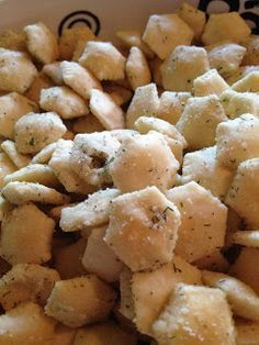 I make this all the time.  It's so addicting!  I add some lemon pepper, too.  But there's no need to bake it.  Just mix in a large bowl and let set for 2 hours, stirring occasionally.  The Best Oyster Cracker Snack Mix