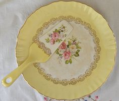 Old Foley, James Kent Staffordshire made in England cake plate and cake server