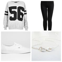 Gray and black sweater with black leggings white vans and a infinity necklace!