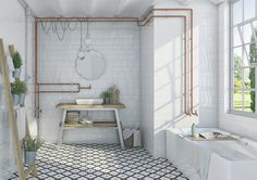 Estilo hidráulico en el baño REVESTIMIENTO PASTA ROJA: ETNIA | VIVES Azulejos y Gres S.A.
