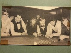Waggy, Parkes and Munro with snooker stars Ray Reardon and Alex Higgins