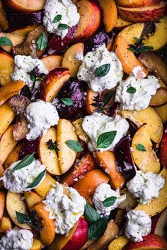 It's the peach and burrata summer salad you absolutely must make this season! The very best of summers sweet and juicy stone fruit bounty are paired with rich and creamy burrata to create a super easy, delicious and colorful salad in under 20min! #stonefruitsalad #peachesandburrrata #summersalad #burratasalad #colorfulsalad Summer Salad Recipes, Fruit Salad Recipes, Summer Salads, Summer Fruit, Summer Savory, Summer Bbq, Summer Food, Healthy Salads, Healthy Eating