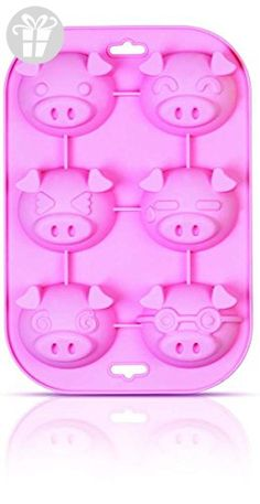 SiliconeZone Piggy Collection Non-Stick Silicone 6-Cup Muffin Mold, Pink (*Amazon Partner-Link)