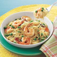 30 minute CHEAP meals!  Angel Hair with Shrimp and Peas
