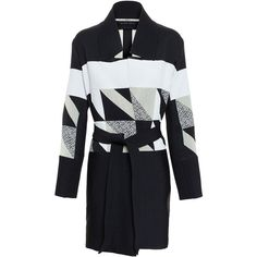 Roland Mouret Patchwork Jacquard Coat (£1,990) ❤ liked on Polyvore featuring outerwear, coats, black, roland mouret and jacquard coat