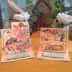 Two Tier cards using A Ladies Diary paper collection.