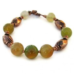 Handmade Bracelet Green Agate Copper Gemstone Beaded Jewelry Summer by Shadowdog Designs on Artfire