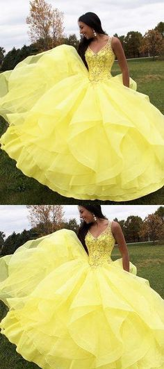 Formal Prom Dresses, yellow prom gown long prom dresses 2018 ball gown v neck sleeveless prom gown Brickell Bridal Cute Prom Dresses, Prom Dresses 2018, Long Prom Gowns, Sweet 16 Dresses, Beautiful Prom Dresses, Ball Gown Dresses, Sweet Dress, Quinceanera Dresses, Trendy Dresses