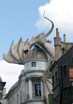 Diagon Alley Dragon at Universal Studios Florida Universal Studios Florida, Universal Orlando, Magical Creatures, Fantasy Creatures, Image Swag, Statues, Dragon Artwork, Dragons, Diagon Alley