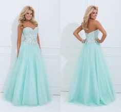 Strapless Blue Beaded long Party Formal Pageant Evening Dresses Prom Ball Gowns #Tulle #Formal