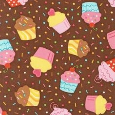 Fabric Store - Baked with Love - Cupcake Toss - ML258605 - Chocolate