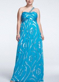 Sensationally beautiful and striking, you will walk away with the crown in this ravishing prom dress!  One shoulder bodice features heavily beaded sparkling strap.  Pleated empirebodice creates a stunning silhouette.  All over eye-catching and chic metallic foil detail really stands out.  Fully lined. Back zip. Imported polyester. Professional spot clean. Available in Missy sizes as Style A14574.