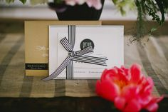 striped ribbon for RSVP cards // stationery by Minted.com // photo by Tinywater.com