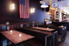 Tender Trap by Cinder MFG --  brooklyn dive bar, Darryl Nau, church pews, bar design, restaurant design