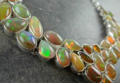 Bold Ethiopian Opal Statement Collar Necklace by MSJewelers, $2965.00