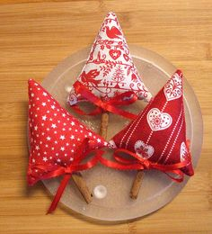 Scandinavian Red and White Christmas Tree Bowl by Skunkhollow $12.00