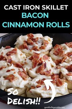 Cast Iron Skillet Bacon Cinnamon Rolls are the perfect pairing of sweet and savory in every single bite. Tender homemade cinnamon rolls that are topped with a decadent cream cheese frosting and salty bacon! Pin for Later! Kitchen Recipes, Wine Recipes, Bacon Cinnamon Rolls, Blueberry Recipes, Fun Desserts, Dessert Recipes, Pinterest Recipes, Brunch Recipes, Delish