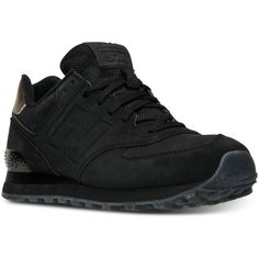 New Balance Women's 574 Molten Metal Casual Sneakers from Finish Line ($80) ❤ liked on Polyvore featuring shoes, sneakers, black, retro sneakers, retro shoes, black sneakers, new balance and black trainers