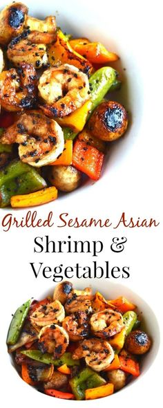 Grilled Sesame Asian Shrimp and Vegetables takes 20 minutes to make and is marinated in a delicious tangy marinade and filled with vegetables for a perfect meal! www.nutritionistr...