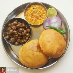 Via @d.srujan -  Peshawari Chhole Golden ( Crisp on the outside soft on the inside ) Whole Wheat Bhature and Punj Rattani Daal was our Brunch today as a early Valentines Day Celebration!  Well one should never wait for a particular day to express affection and for a few reasons I have been cooking only Daal Roti Sabzi kind of quick meals since a fortnight now. And since February the 14th is going to be a weekday we celebrating it today! So I decided to treat Mr. Desai today with a few…