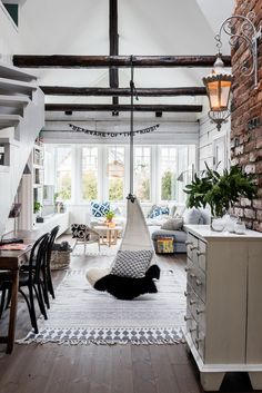 What a beautiful white, Scandinavian interior! Take a look for a full home tour - Roomed Bohemian Living Rooms, Home Living Room, Living Spaces, House Doctor, Niklas, Deco Boheme, Casa Real, Home And Deco, Scandinavian Interior