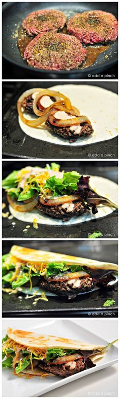 Cheeseburger Quesadillas Recipe ~ yummykey