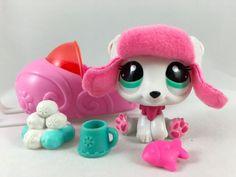 Littlest Pet Shop RARE Hot Pink & White Polar Bear #2298 w/Hat & Accessories #Hasbro